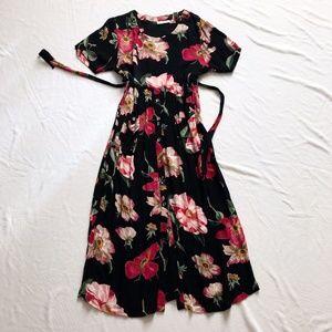 Vintage dress floral blossom maxi Large black